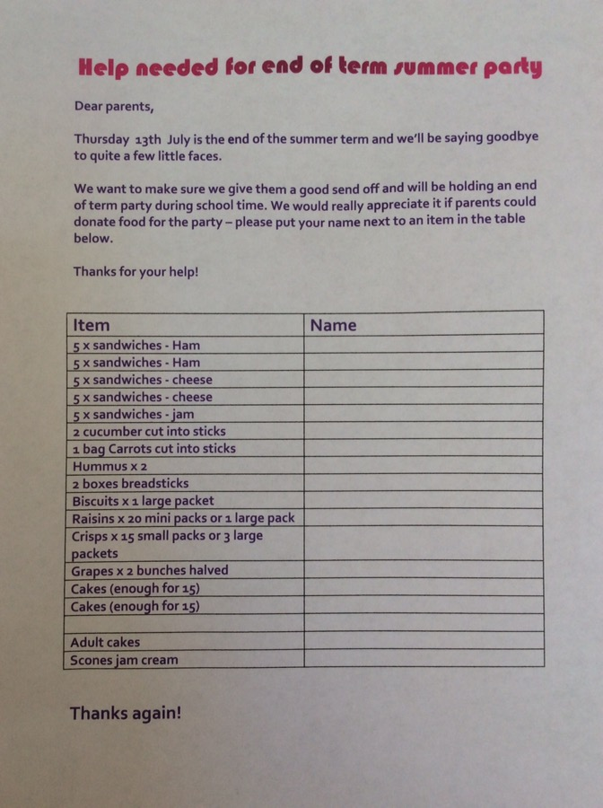 Please Look Out For The Summer Party Food List On The Door, We Already Have  Some Kind Donations.